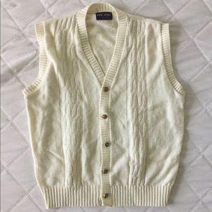 Men's Cream Buttoned Vintage Vest